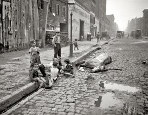 Library of Congress LC-D401-13645 DLC -- Dead Horse Surrounded by Children on NYC street