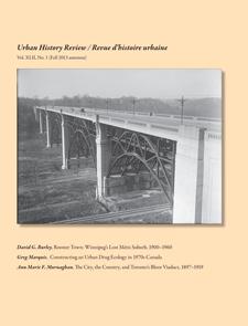 Couverture du plus récent numéro de la RHU/UHR (source: http://urbanhistoryreview.ca/urbanfrench.html)
