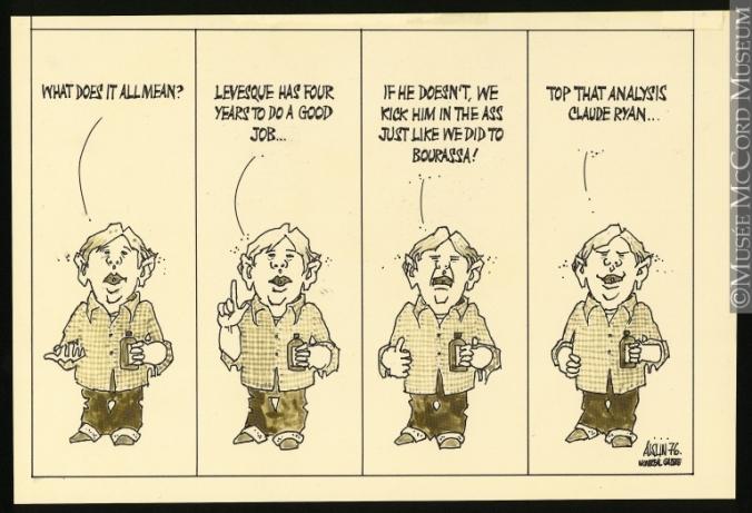 Une analyses politique Aislin (alias Terry Mosher) 18 novembre 1976 (Don de Mr. Terry Mosher M988.176.319 © Musée McCord)